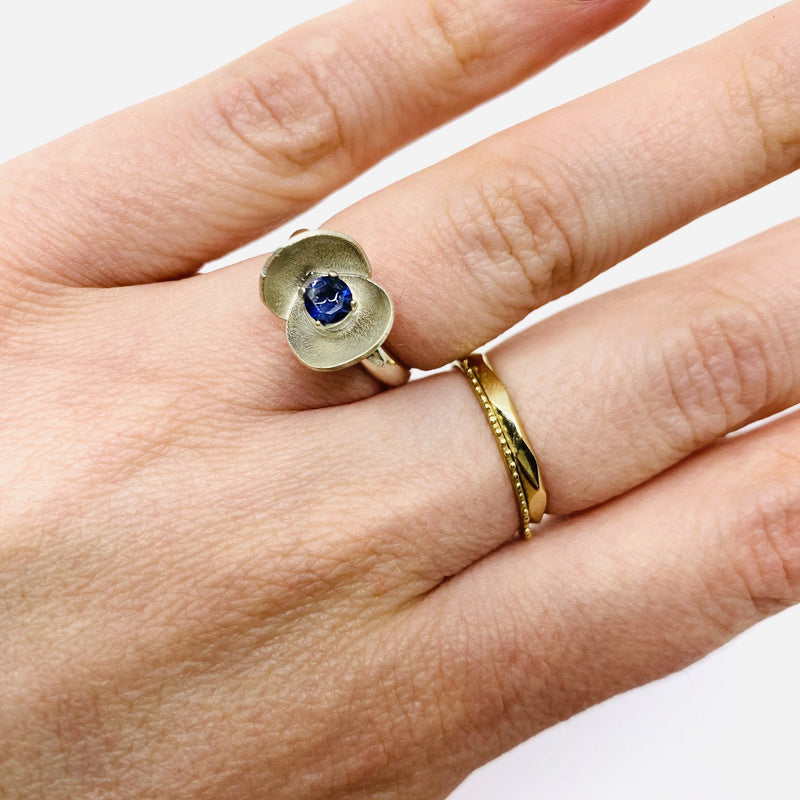 Sunggee Min — Silver Lotus Tree Ring with Stone - Australian made Jewellery