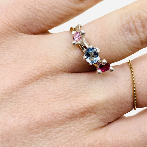 Taë Schmeisser - Silver Aquamarine, Sapphire and Cubic Zirconia 'Nestled in Bloom' Ring Jewellery Tae Schmeisser | Craft