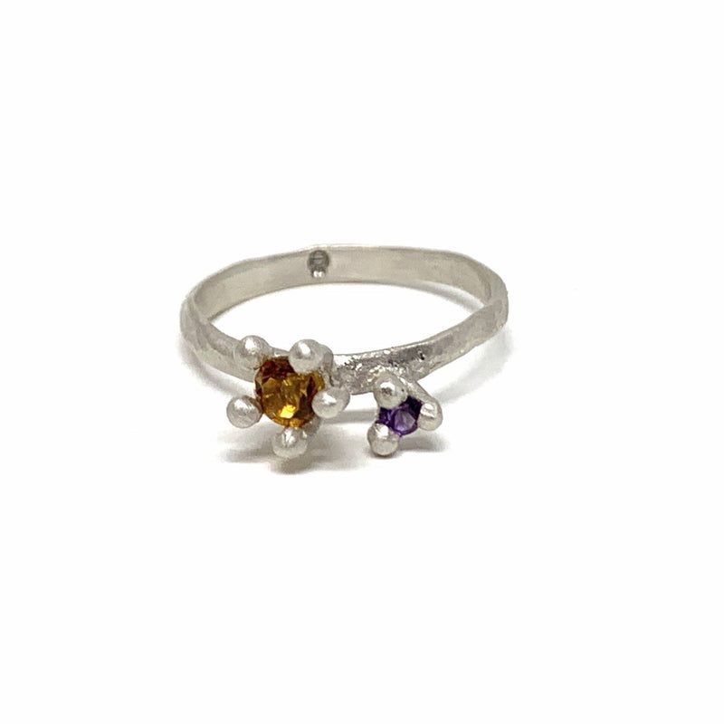 Tae Schmeisser - Silver 'Nestled Bloom' Ring with Orange and Purple Lab Grown Stones - Australian made Jewellery