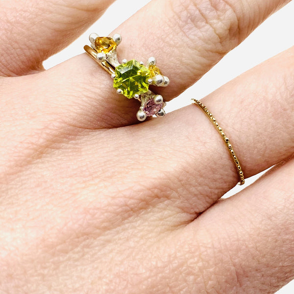 Taë Schmeisser — Silver Peridot, Citrine and Cubic Zirconia 'Nestled in Bloom' Ring Jewellery Tae Schmeisser | Craft
