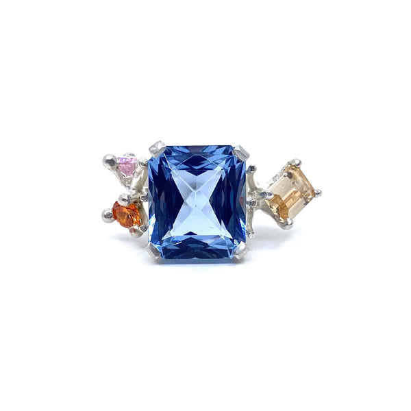 Taë Schmeisser — Silver Spinel and Cubic Zirconia 'Nestled in Bloom' Ring Jewellery Tae Schmeisser | Craft