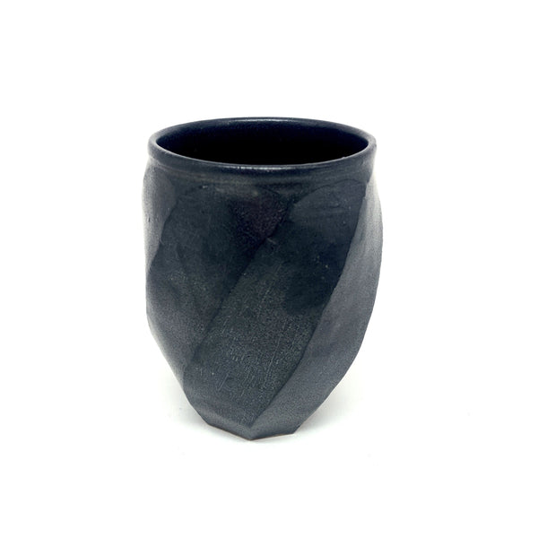 Terunobu Hirata — Black Matte Twist Faceted Cup - Australian made Ceramics