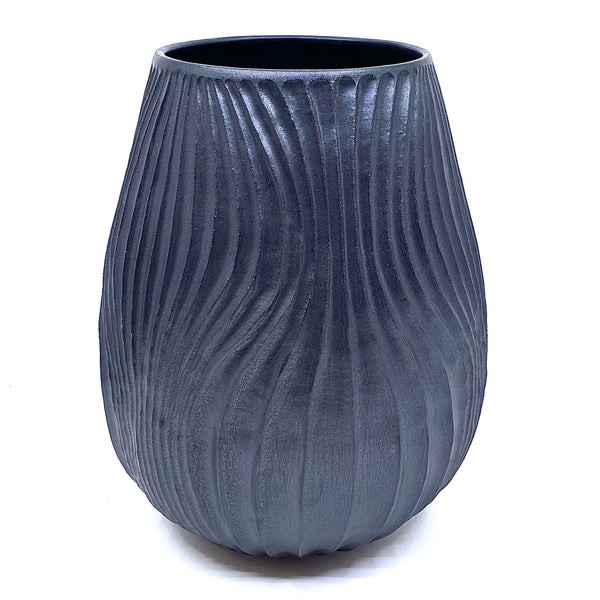 Terunobu Hirata — Carved Black Matte Vase - Australian made Ceramics