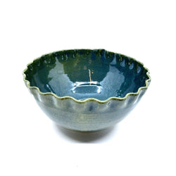 Terunobu Hirata — Green Oribe Wave Lipped Bowl - Australian made Ceramics