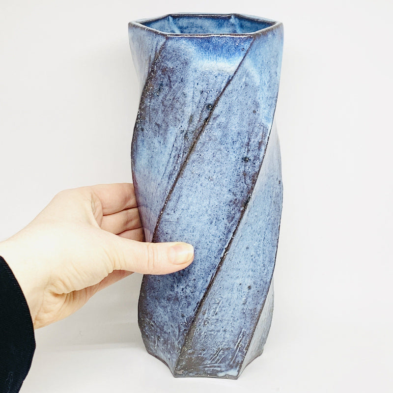 Terunobu Hirata — Large Pale Moon Blue Twist Faceted Tall Vase - Australian made Ceramics