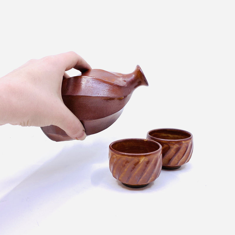 Terunobu Hirata — Red Shino Sake Set - Australian made Ceramics