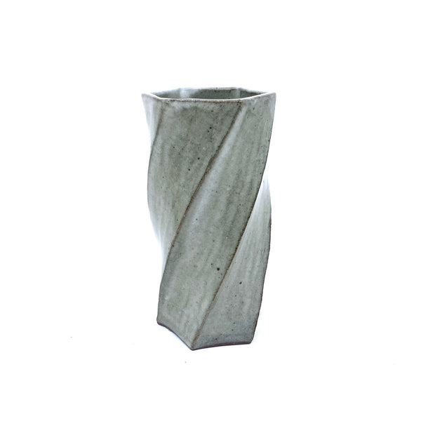 Terunobu Hirata — Small Twist Faceted Shirahagi Vase - Australian made Ceramics