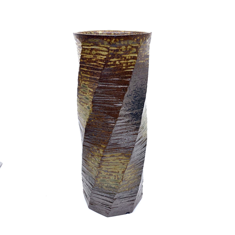 Terunobu Hirata — Tall Ash Glaze Twist Faceted Vase - Australian made Ceramics