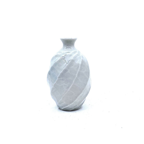 Terunobu Hirata — Twist Faceted Ash Glaze Porcelain Sake Bottle | Vase - Australian made Ceramics