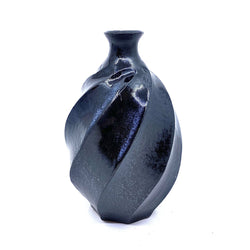 Terunobu Hirata — Twist Faceted Black Matte Sake Bottle | Vase - Australian made Ceramics
