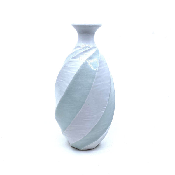 Terunobu Hirata — Twist Faceted Pale Celadon Bottle - Australian made Ceramics