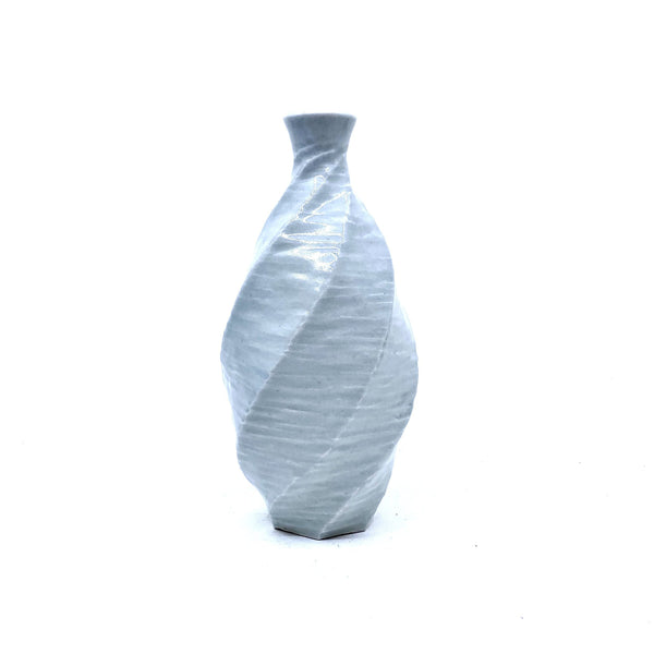 Terunobu Hirata — Twist Faceted Pale Celadon Sake Bottle | Vase - Australian made Ceramics
