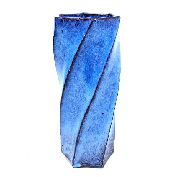 Terunobu Hirata — Twist Faceted Pale Moon Vase - Australian made Ceramics