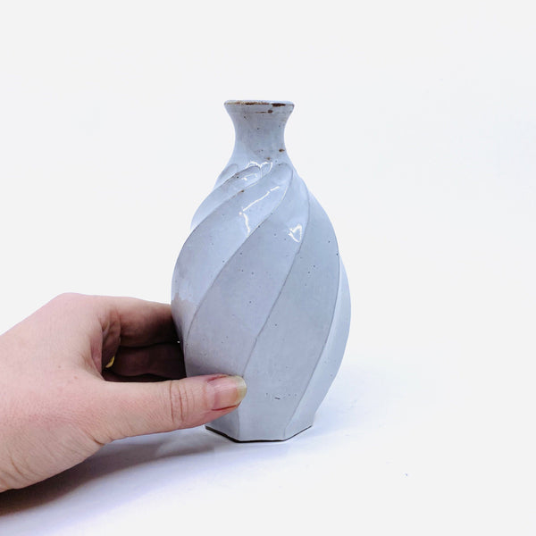 Terunobu Hirata — Twist Faceted Shirahagi Sake Bottle | Vase - Australian made Ceramics