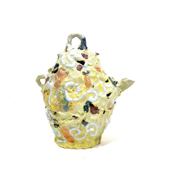 Tessy King — Small Yellow 'Evening Teapot' Ceramic Sculpture - Australian made Ceramics