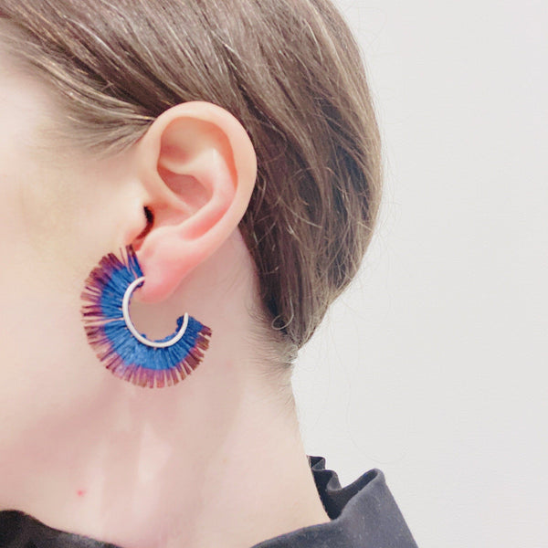 Vicki Mason — Fringed Hoop Earrings in Blue and Purple - Australian made Jewellery
