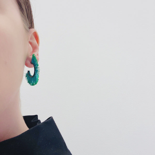 Vicki Mason — Fringed Hoop Earrings in Green - Australian made Jewellery