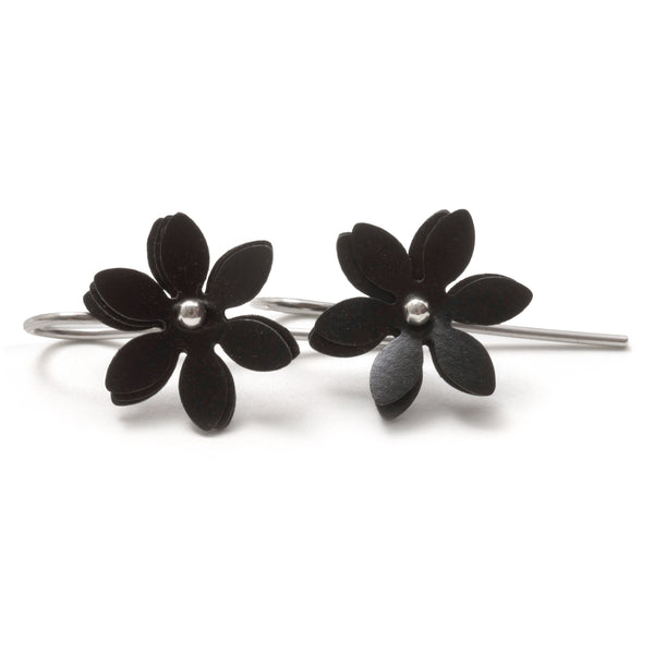 Vicki Mason — Silver Hook Black Daisy Punch Earrings - Australian made Jewellery