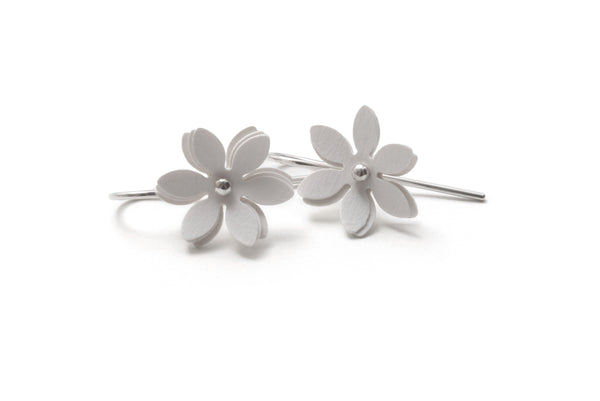 Vicki Mason — Silver Hook Cream Daisy Punch Earrings - Australian made Jewellery