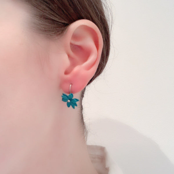 Vicki Mason — Silver Hook Daisy Punch Earrings in Bright Blue - Australian made Jewellery