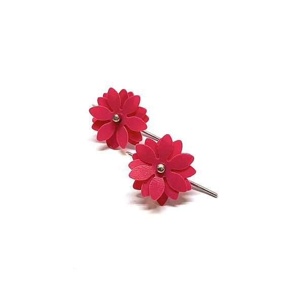 Vicki Mason — Silver Hook Daisy Punch Earrings in Hot Pink - Australian made Jewellery