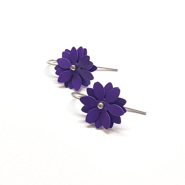 Vicki Mason — Silver Hook Daisy Punch Earrings in Purple - Australian made Jewellery
