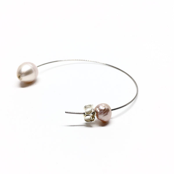 Victoria Mason — Stainless Steel and Pink Pearl Line Hoops - Australian made Jewellery