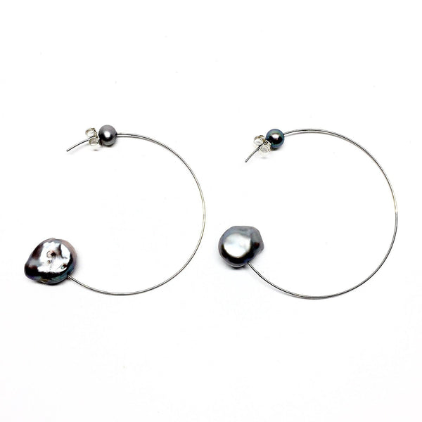 Victoria Mason — Stainless Steel and Grey Pearl Line Hoops - Australian made Jewellery