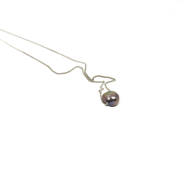 Victoria Mason — Silver and Grey Pearl Line Necklace - Australian made Jewellery