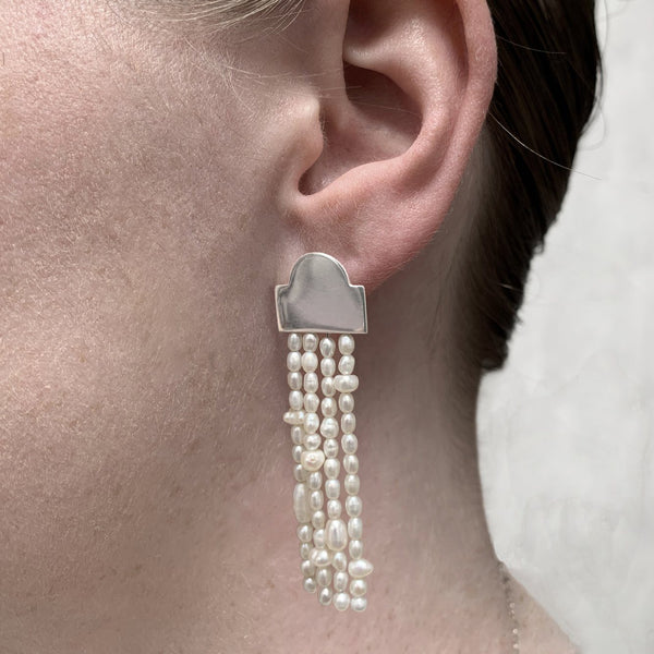 Victoria Mason — 'To Hold' Long Tassel Earrings with Seed Pearls - Australian made Jewellery