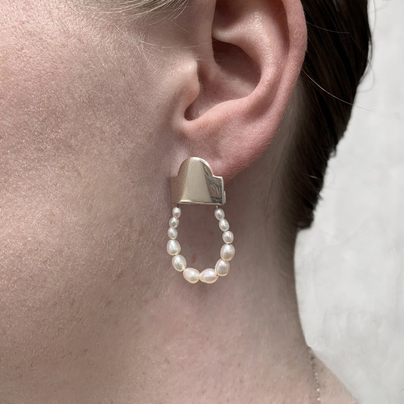 Victoria Mason — 'To Hold' Loop Earrings with Seed Pearls - Australian made Jewellery