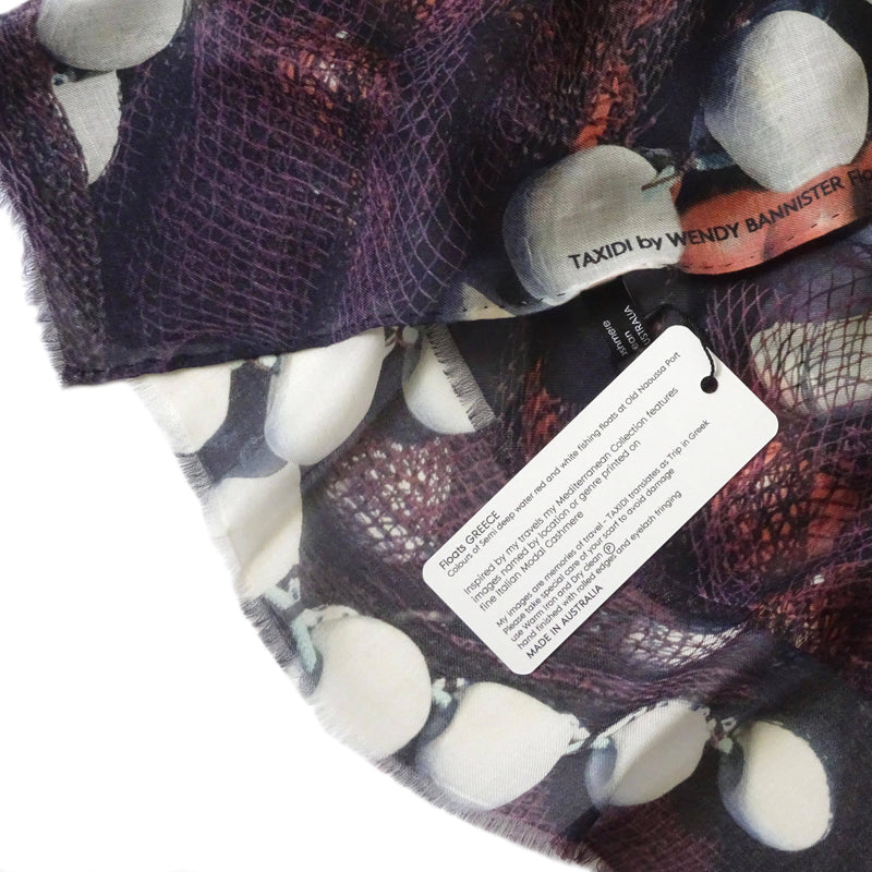 Wendy Bannister, Taxidi —  Floats Modal Cashmere Scarf (Comes with Complimentary Matching Face Mask) - Australian made Textiles