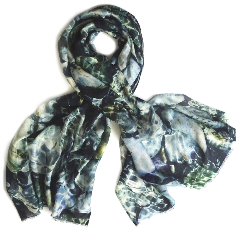 Wendy Bannister, Taxidi — Ithaca Blue Modal Cashmere Scarf - Australian made Textiles