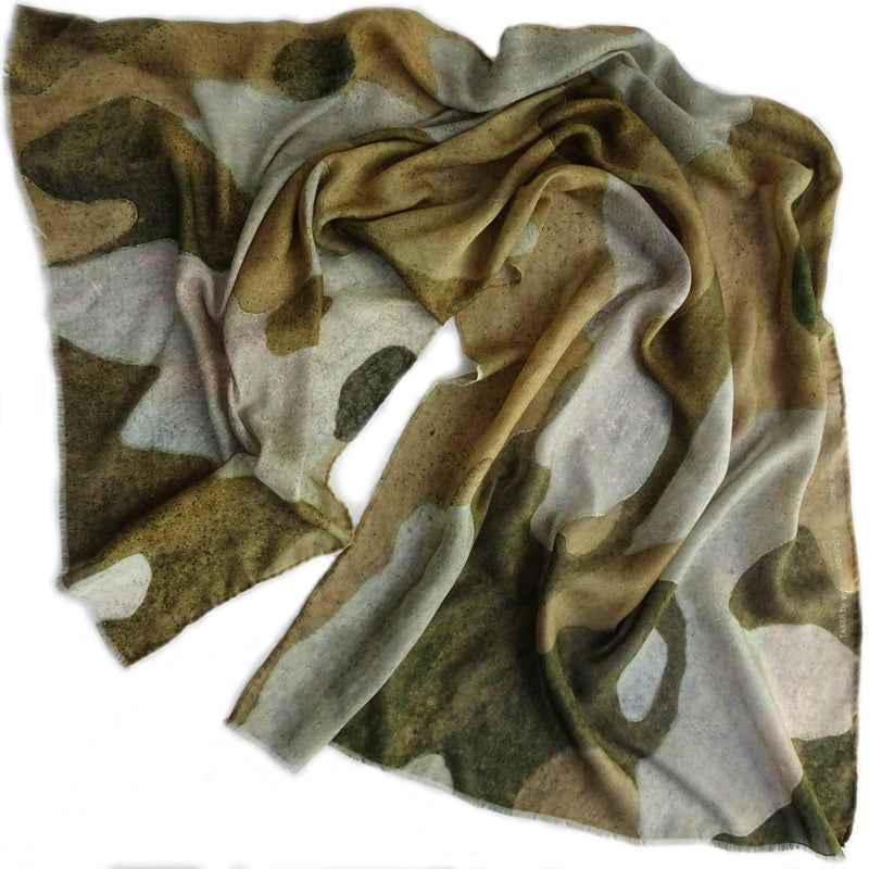 Wendy Bannister, Taxidi —  Tan Camo Gum Modal Cashmere Scarf (Comes with Complimentary Matching Face Mask) - Australian made Textiles