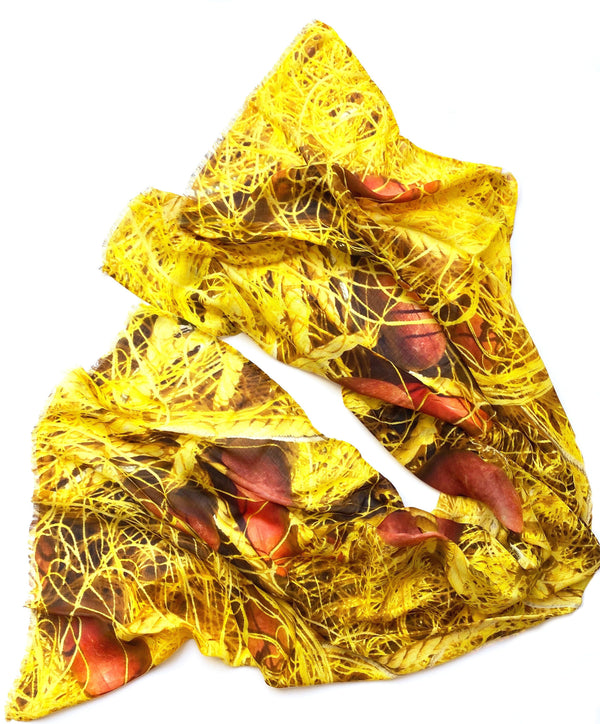 Wendy Bannister, Taxidi — Yellow Nets Modal Cashmere Scarf (Comes with Complimentary Matching Face Mask) Textiles Wendy Bannister | Craft