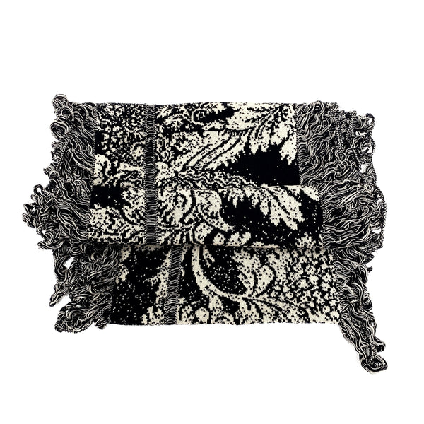 Wendy Voon — Black and Pearl Damask Scarf - Australian made Textiles