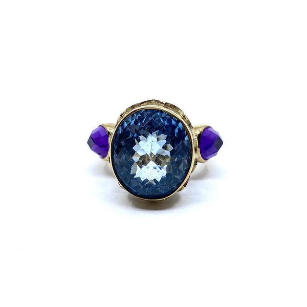 William Llewellyn Griffiths, Metal Couture — 9ct Yellow Gold 'Ethereal Sanctum' Ring with Checkerboard Cut Topaz and Amethyst - Australian made Jewellery