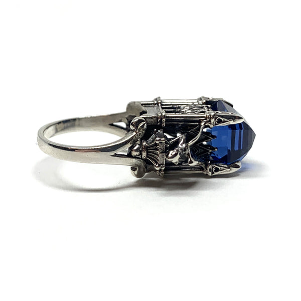 William Llewellyn Griffiths, Metal Couture — Dainty Blue Cathedral Ring with Gargoyles - Australian made Jewellery