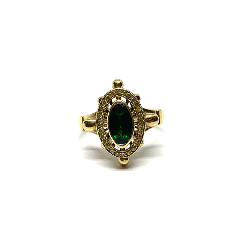 William Llewellyn Griffiths, Metal Couture — Green Tourmaline & Skulls Engagement Ring - Australian made Jewellery