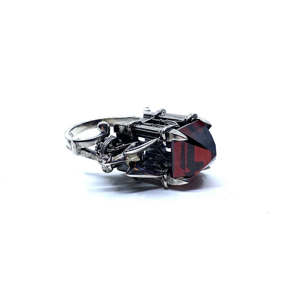 William Llewellyn Griffiths, Metal Couture — Sterling Silver 'Red Cathedral with Gargoyles' Ring with Red Cubic Zirconia - Australian made Jewellery
