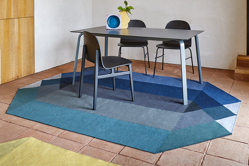 Gan Rugs Blue-Green Diamond Kilim Rug by Charlotte Lancelot