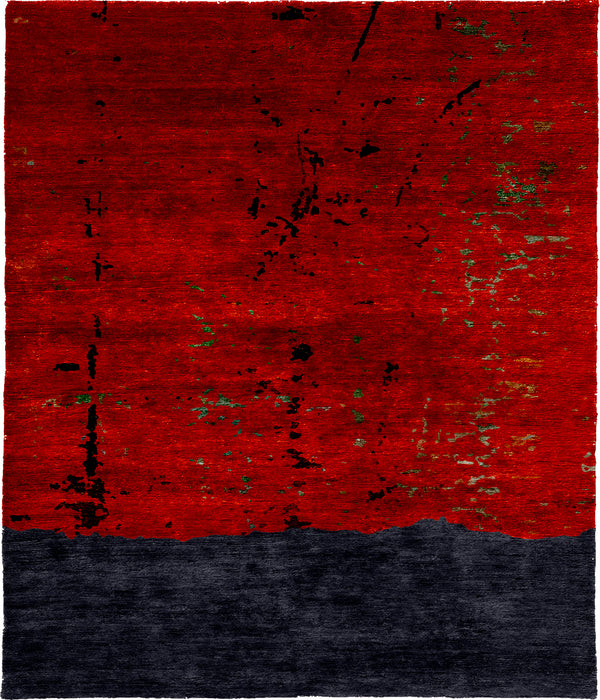 Red Noise Hand Knotted Tibetan Rug Main Image