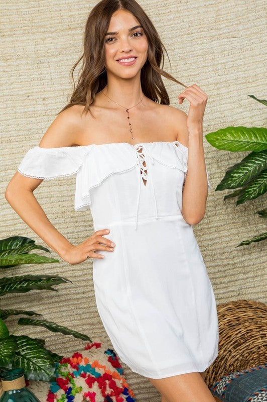 Camila Off Shoulder Ruffle Detail Front Tie with Back Zipper Dress Siin Bees