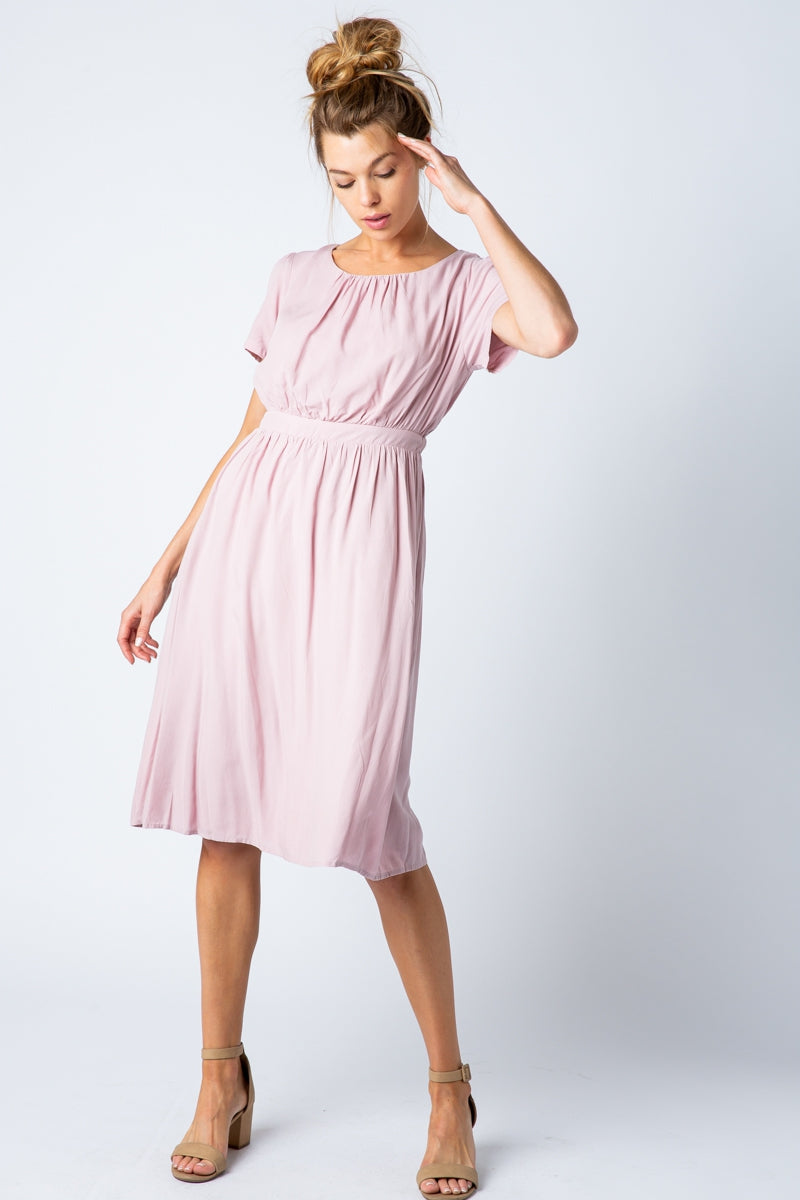 Jacqueline Midi Dress With Three Quarter Sleeves In Mauve Siin Bees