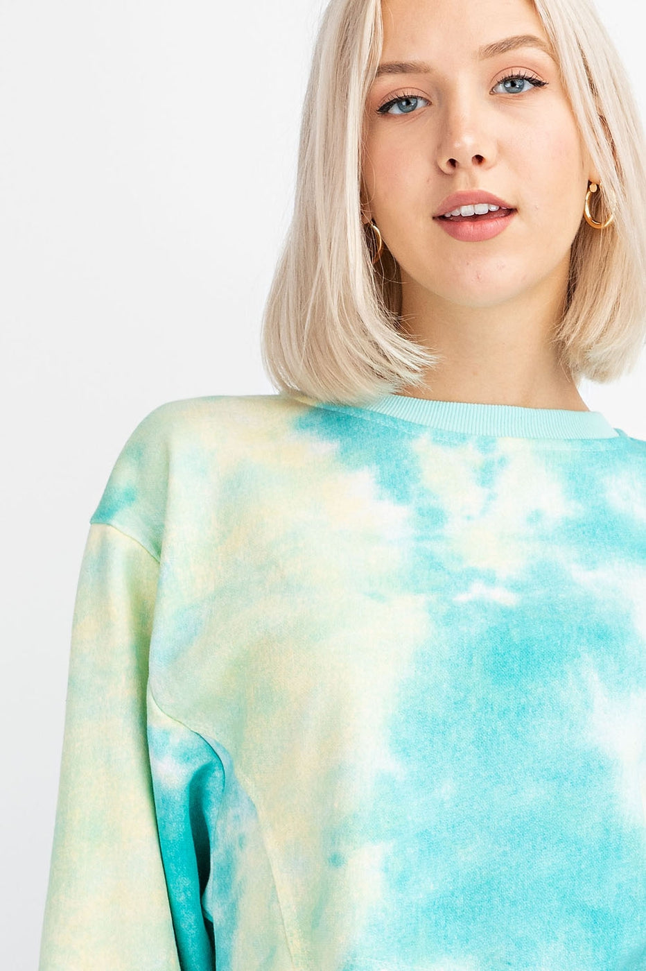 Tie Dye French Terry Cropped Crew-Neck Top Siin Bees