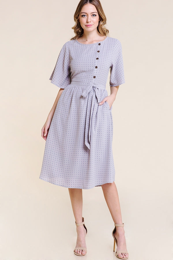 Natalie Midi Dress Waist Tie with Front Button In Grey Siin Bees