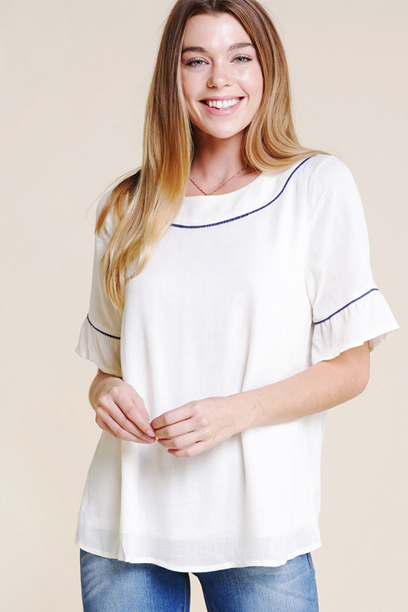 Adorable Light Weight Top With Back Button Detail In Ivory Siin Bees