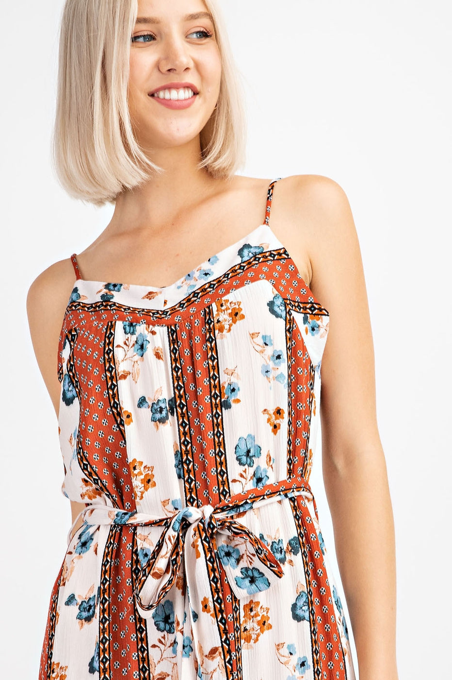 Spaghetti Strap Printed Jumpsuit With Waist Tie Siin Bees