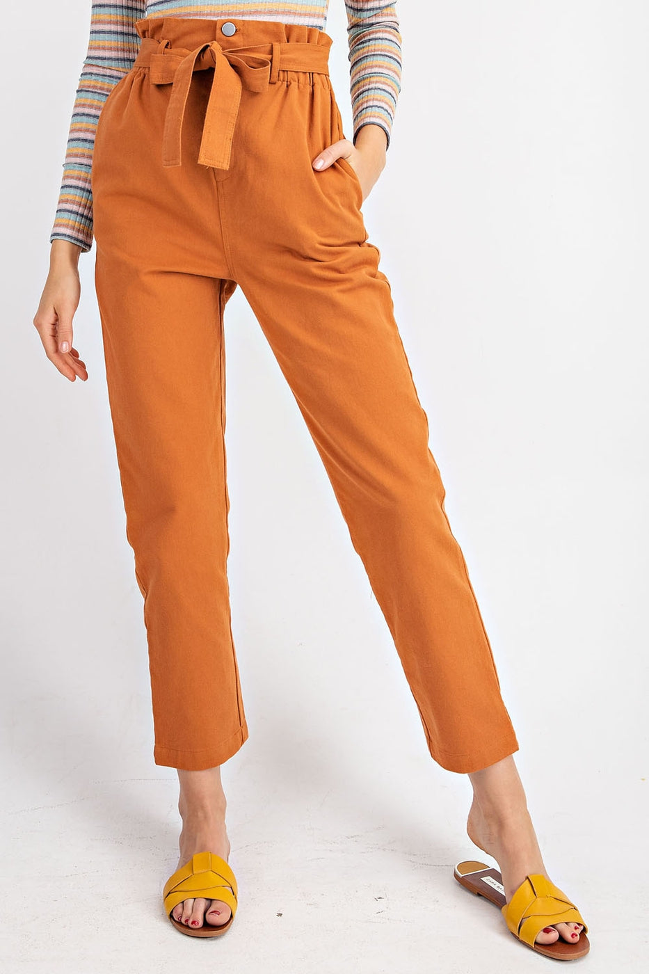 Button Down Paper Bag Trouser With Waist Belt Siin Bees