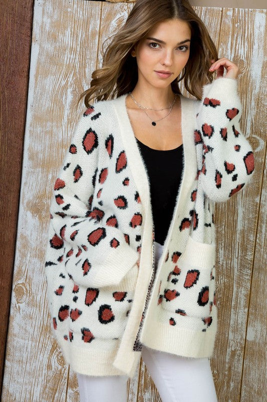 White Leopard Printed Open Front Wool Cardigan Siin Bees